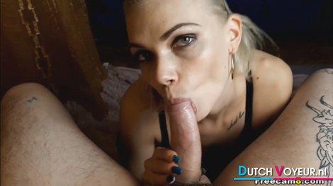 Seductive Blonde Sucks Big Cock POV