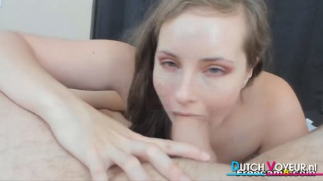 Hot Brunette Sucks this Big Hard Dick