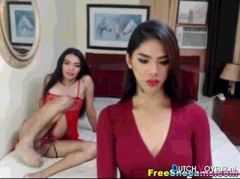 Busty shemale stroke their big cock on cam