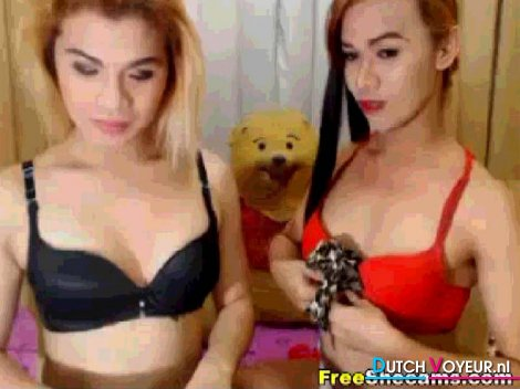 Sexy hot couple shemale loves masturbating on cam