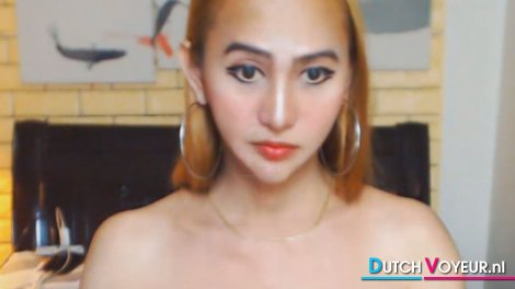 Pretty Asian Shemale Wanking On Cam